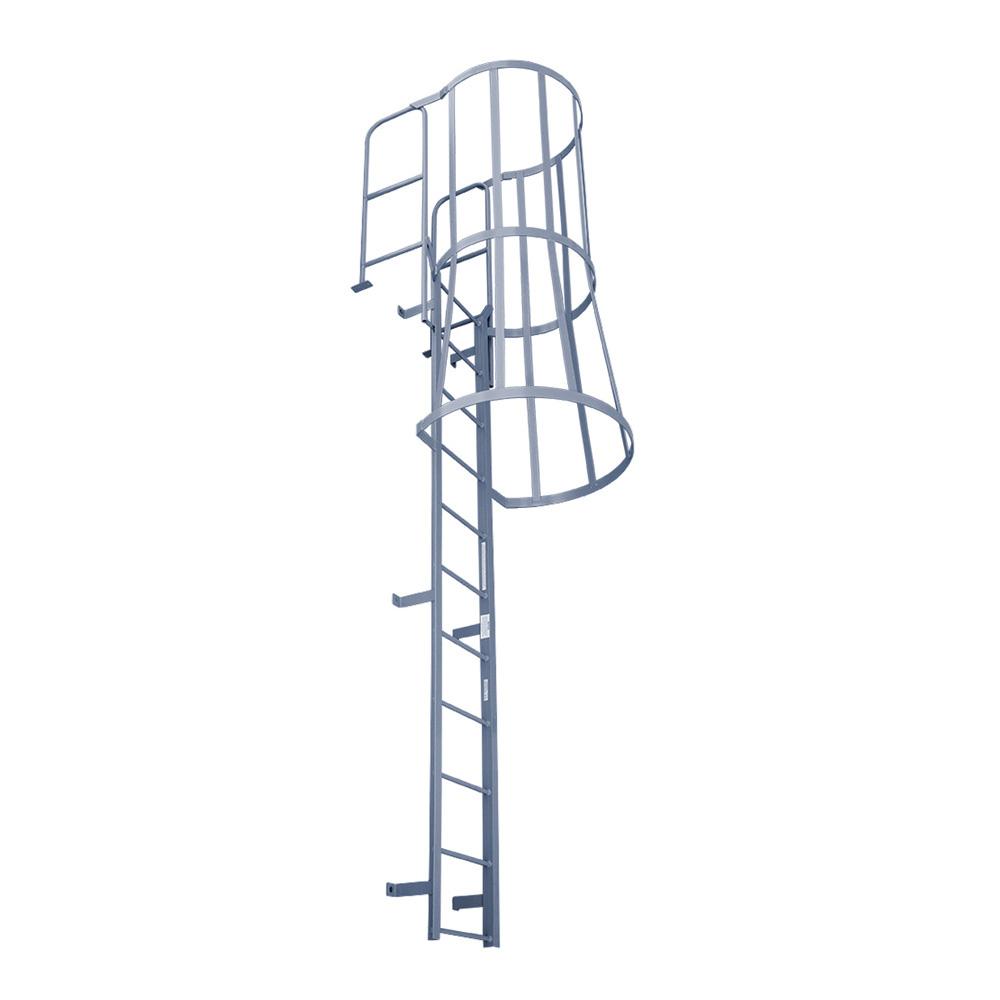Fixed Ladder w/ Walk-Thru Handrails & Safety Cages