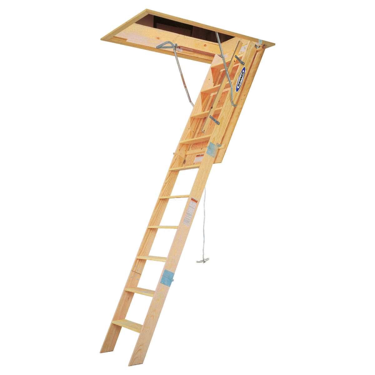 sc 1 st  National Ladder u0026 Scaffold Co. & Werner WH Series Wood Attic Ladder - 10u0027 H.D. Wood - 25
