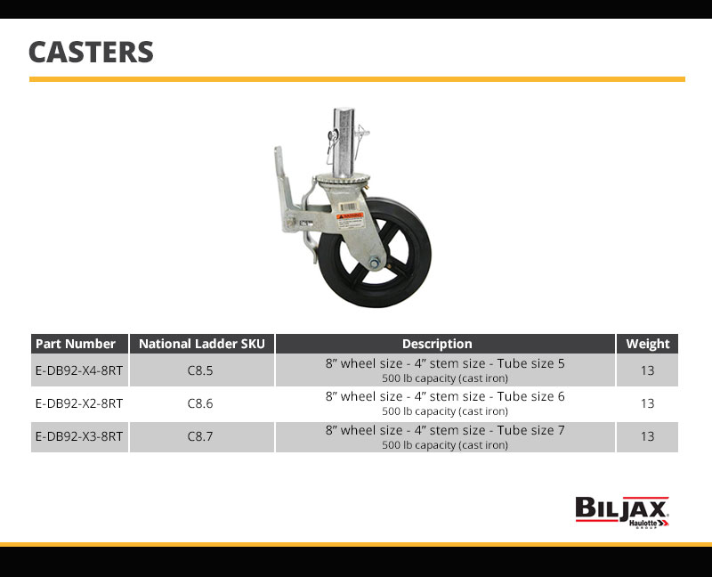 Bil-Jax Wheel Caster Technical Specs