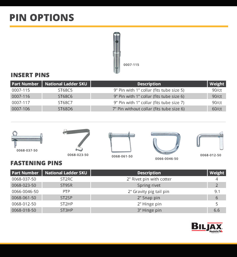 Bil-Jax Fastening Pins Technical Specifications