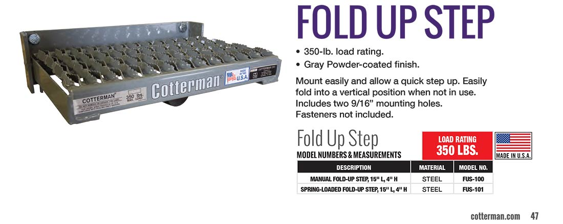 Cotterman Fold Up Step Technical Specs