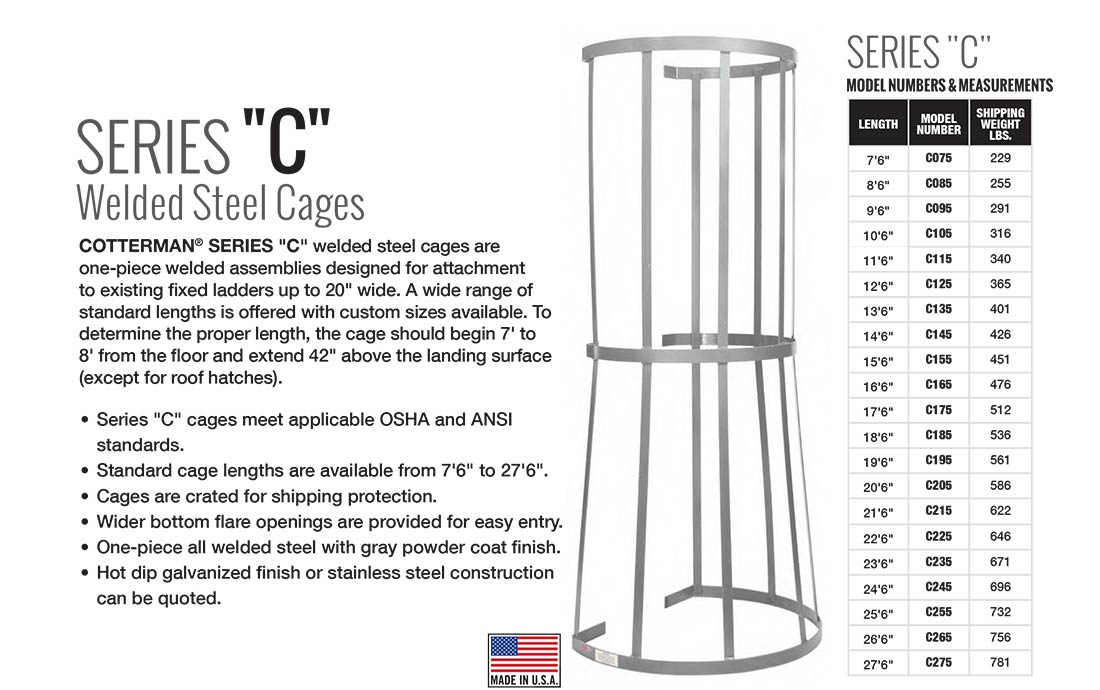 Cotterman Series C Fixed Cages Technical Specs