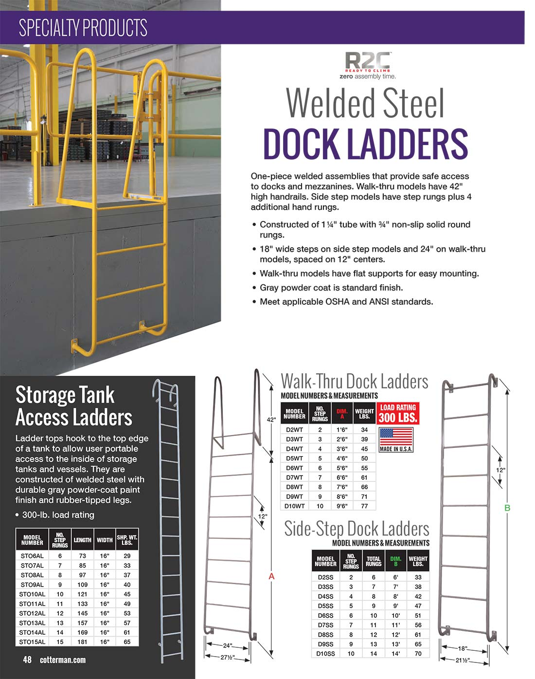 Cotterman Dock Ladders Technical Specs
