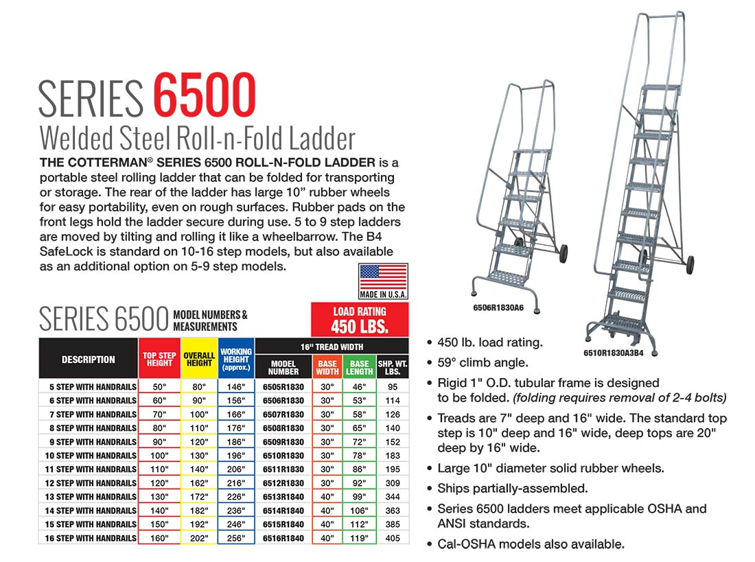 Cotterman Series 6500 Foldable Ladder Technical Specs