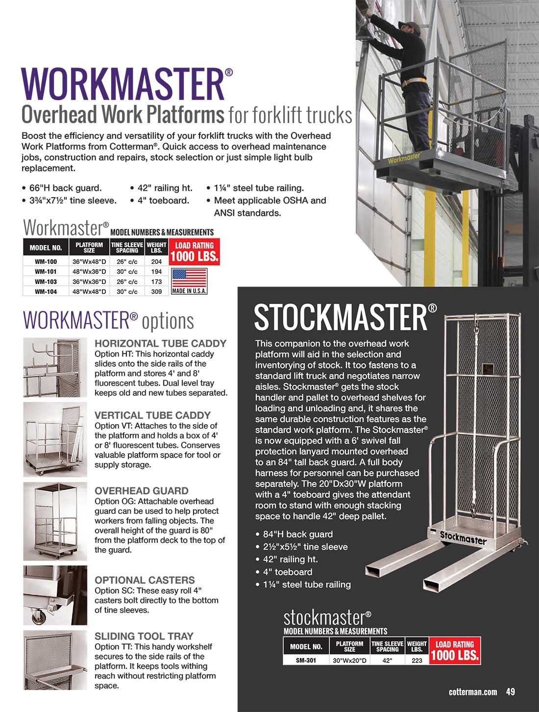 Cotterman Workmaster Lift Ladder Technical Specs
