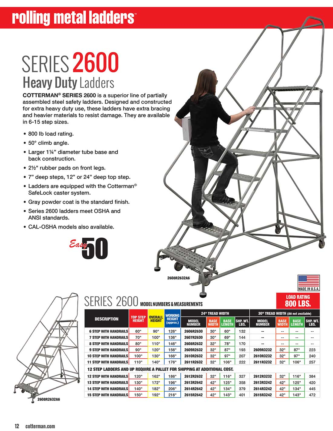 Cotterman Series 2600 Rolling Ladder Technical Specs