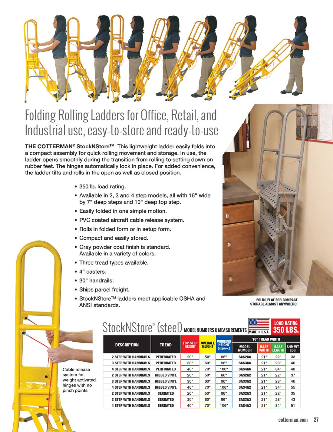 Cotterman Steel StockNStore Ladder Technical Specs