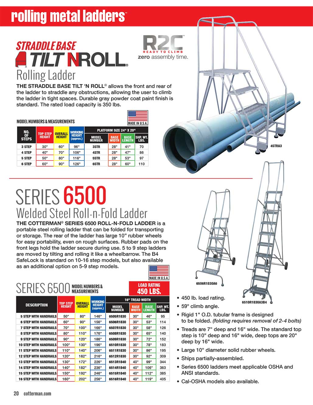 Cotterman Straddle Base Tilt-N-Roll Ladder Technical Specs
