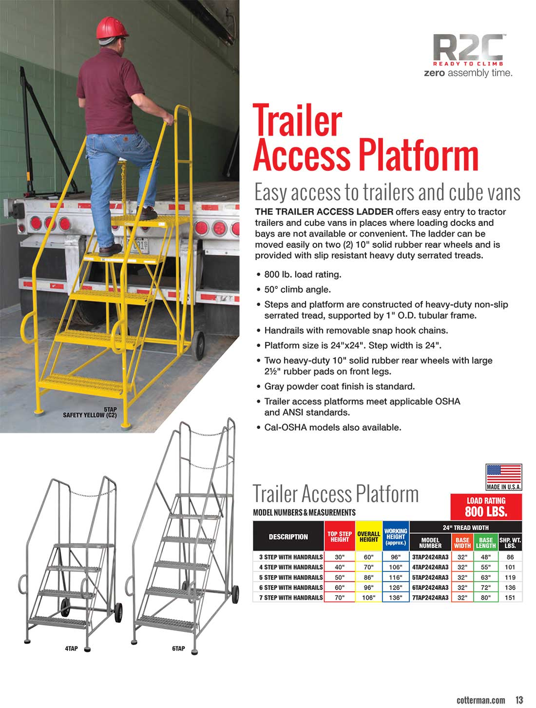 Cotterman Trailer Access Ladder Technical Specs