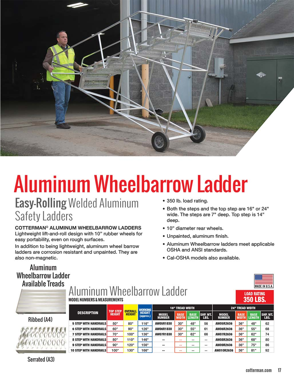 Cotterman Wheelbarrow Ladder Technical Specs