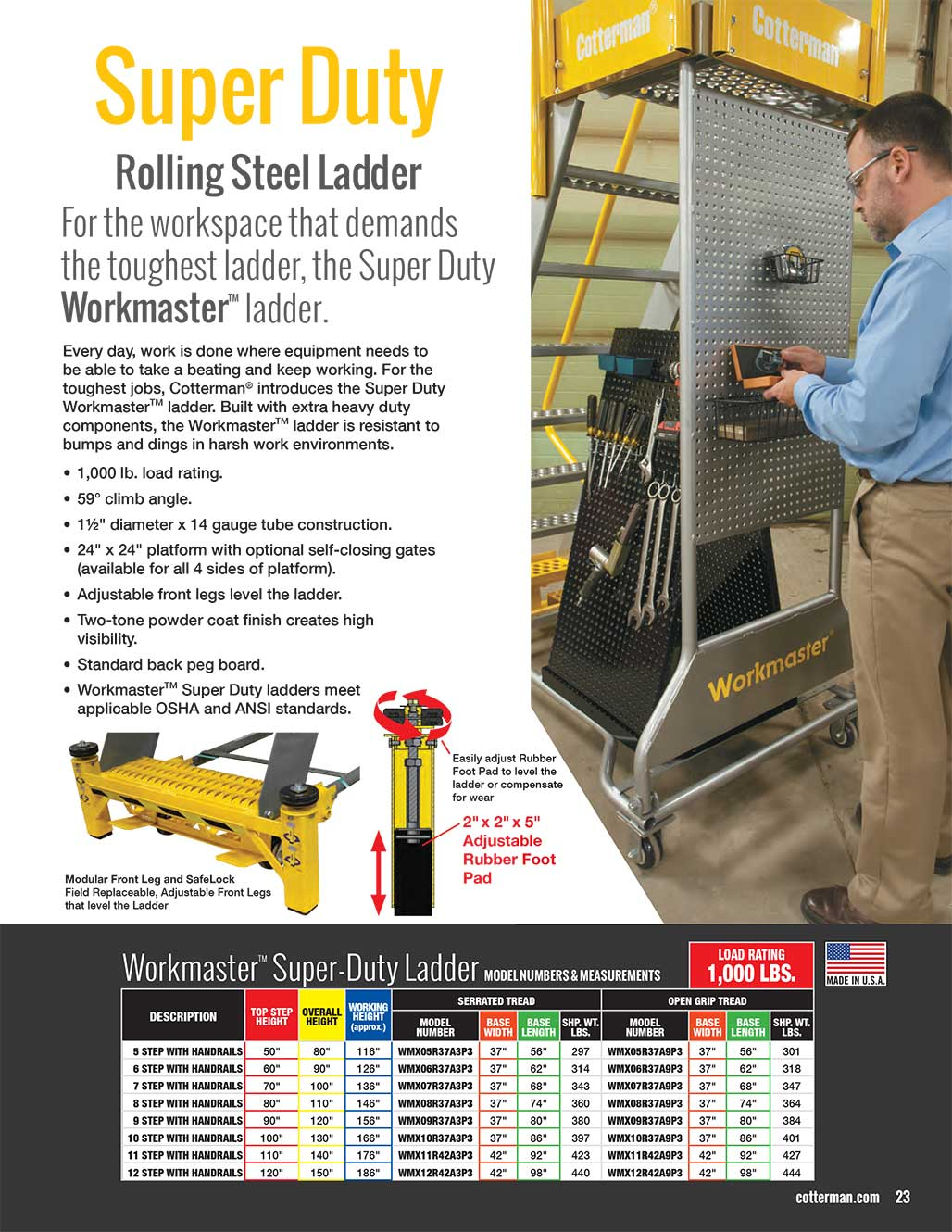 Cotterman Workmaster Super-Duty Rolling Steel Ladder Technical Specs