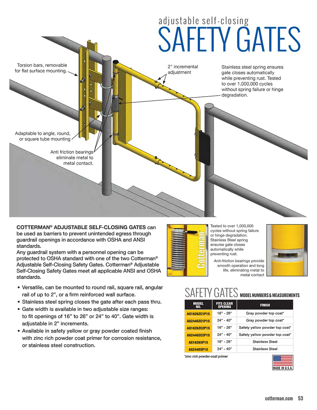 Cotterman Safety Gate Technical Specs