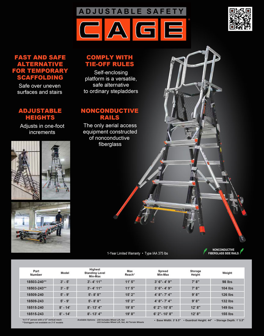 Little Giant Adjustable Safety CageTechnical Specifications