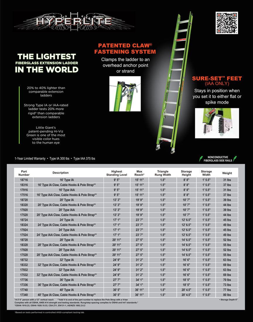 Little Giant Hyperlite Ladder Technical Specifications