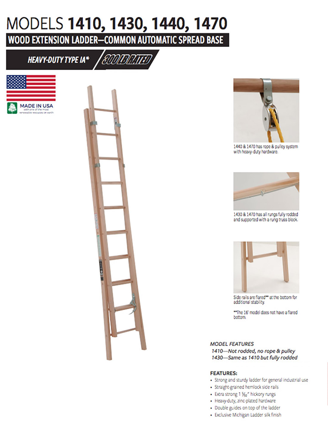 Industrial Grade Wood Extension Ladder