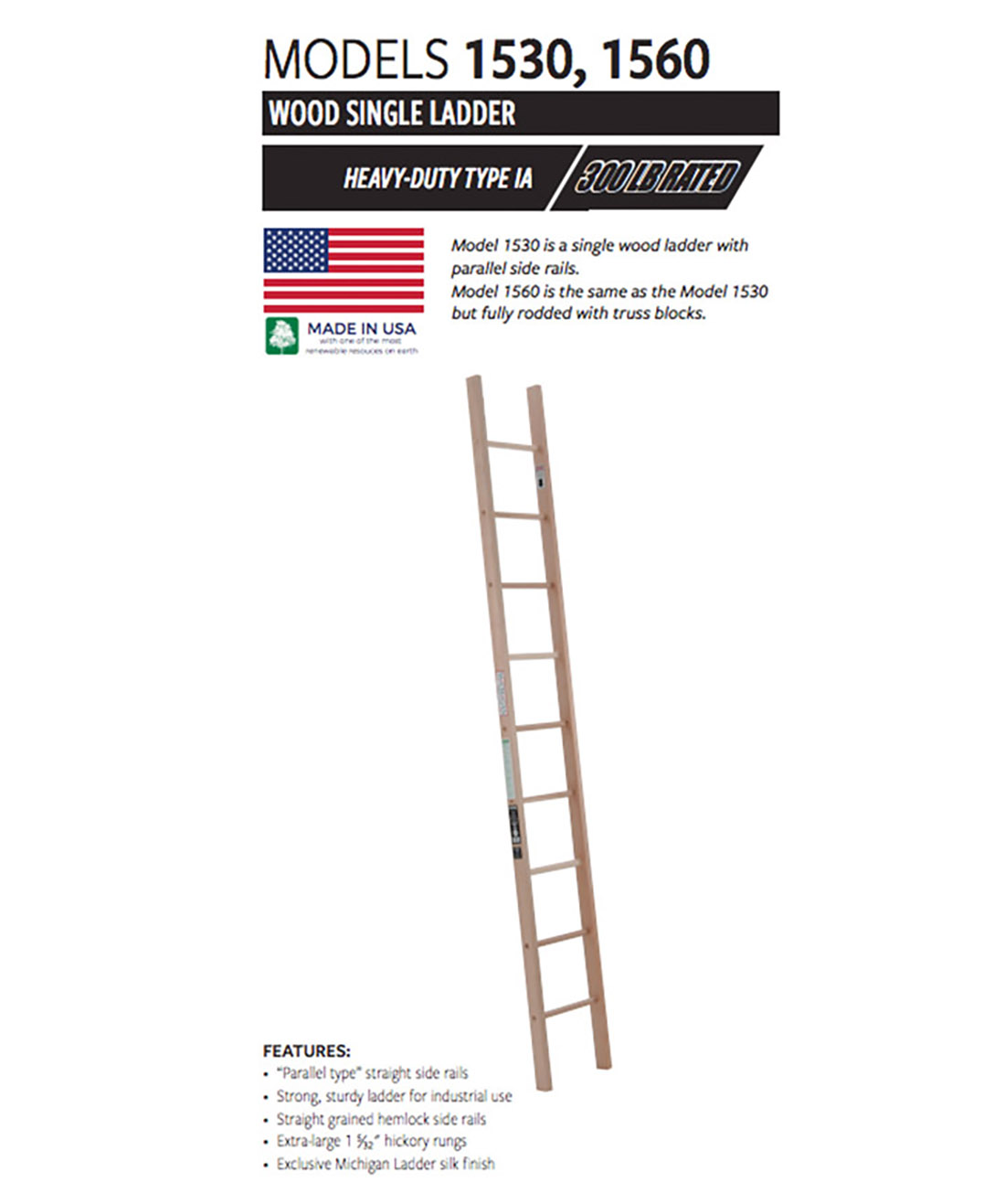 Single Straight Wood Ladder