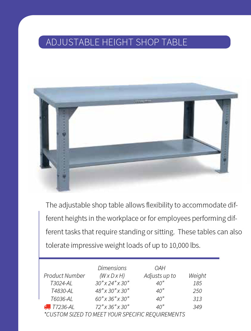 Strong Hold Adjustable Height Shop Table Technical Specifications