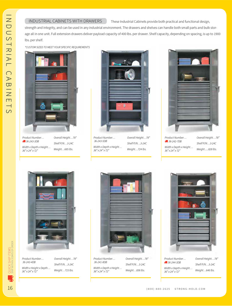 Strong Hold Industrial Cabinet with Drawers Technical Specifications