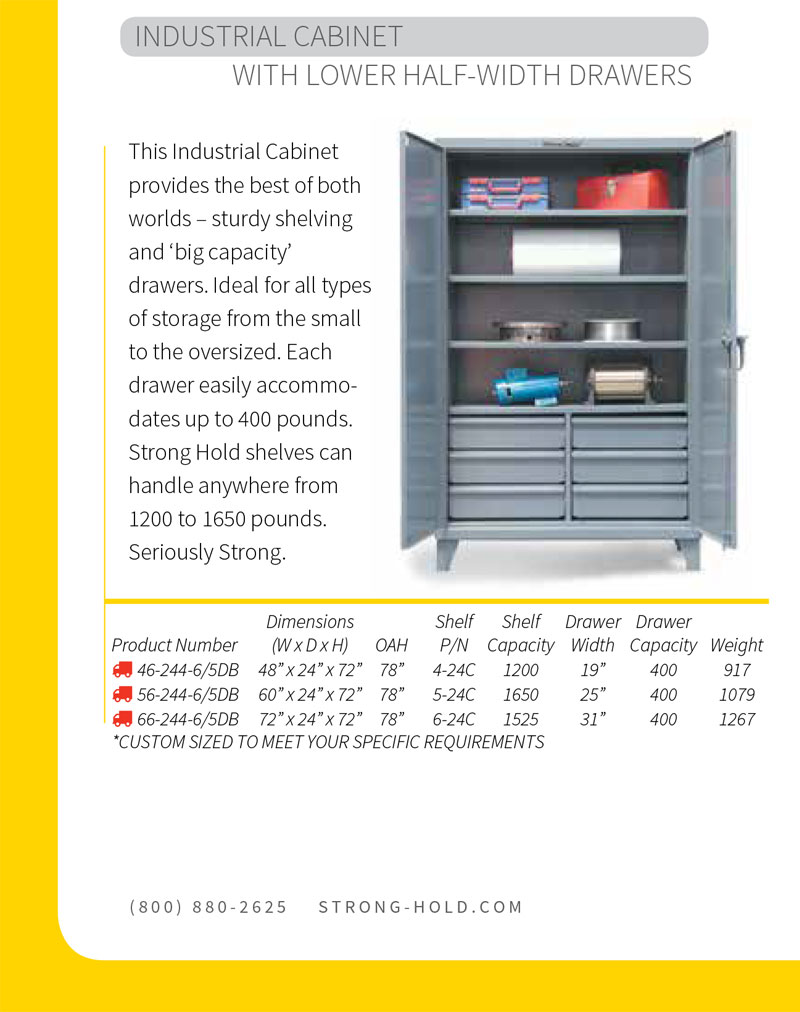 Strong Hold Industrial Cabinet with Lower Half Width Shelves Technical Specifications