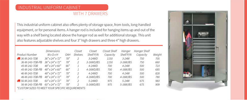 Strong Hold Uniform Cabinet with 7 Drawers Technical Specifications