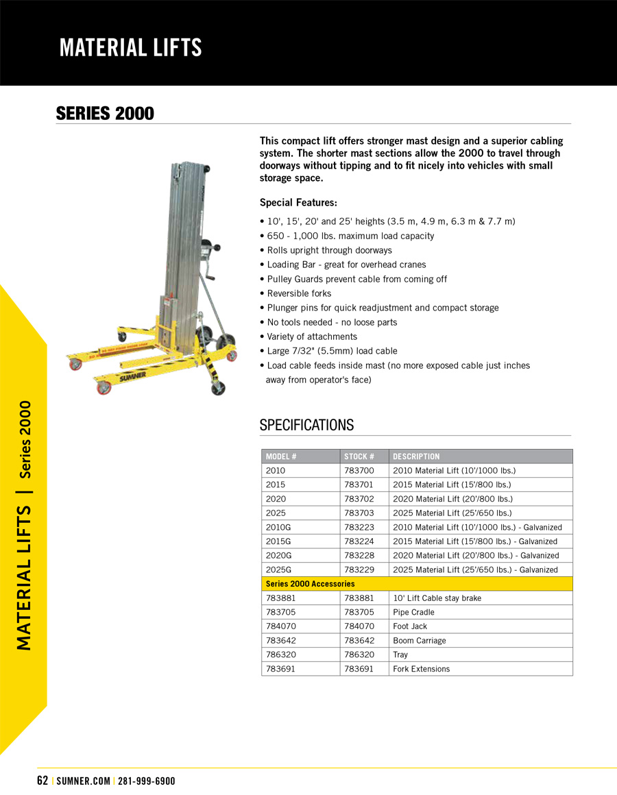 Sumner 2000 Series Material Lift Technical Specs
