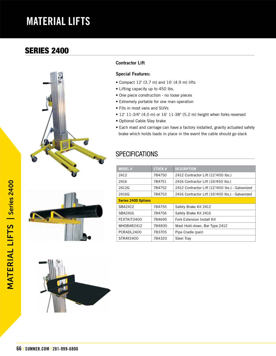Sumner 2400 Series Material Lift Technical Specs