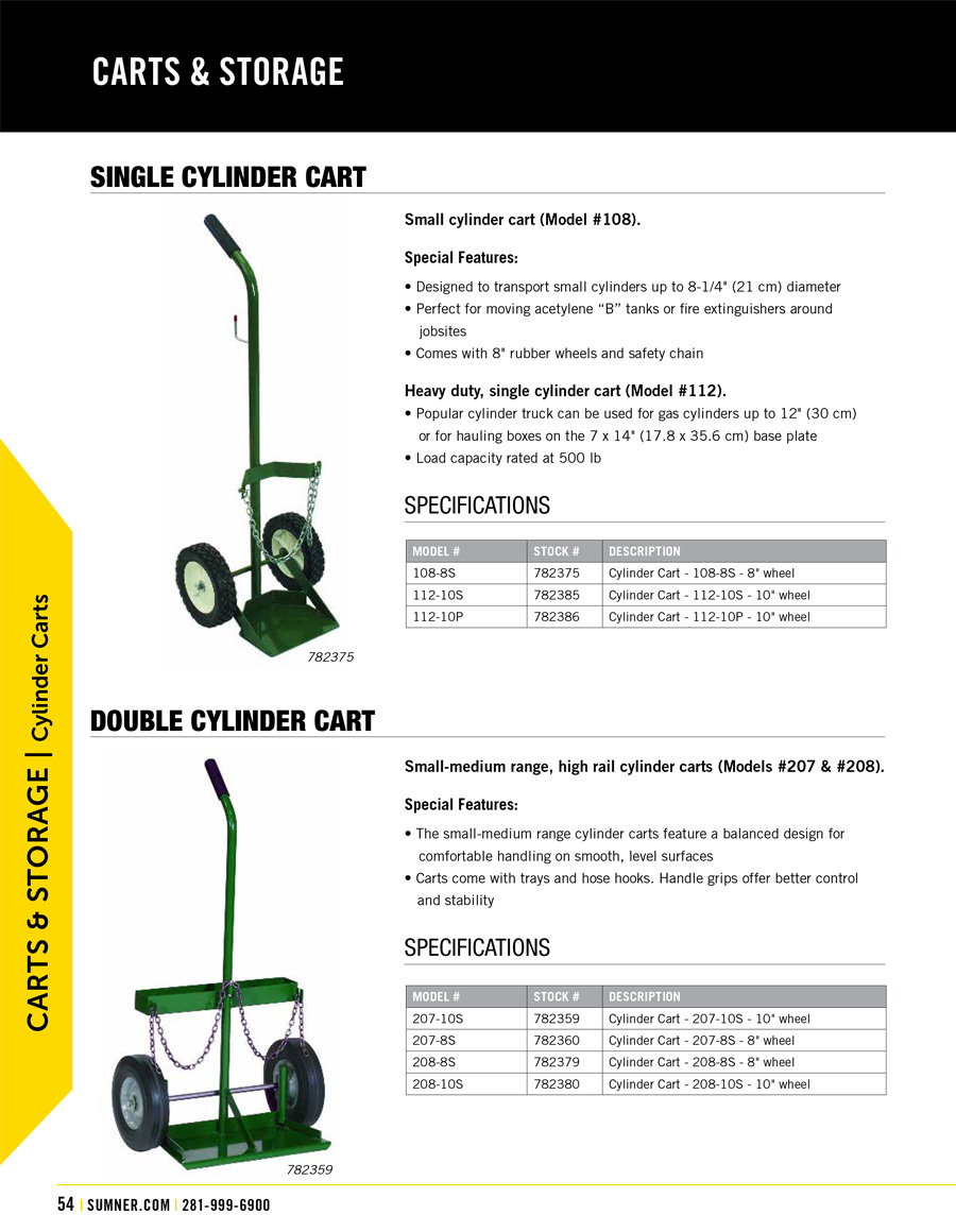 Sumner Cylinder Carts Technical Specs