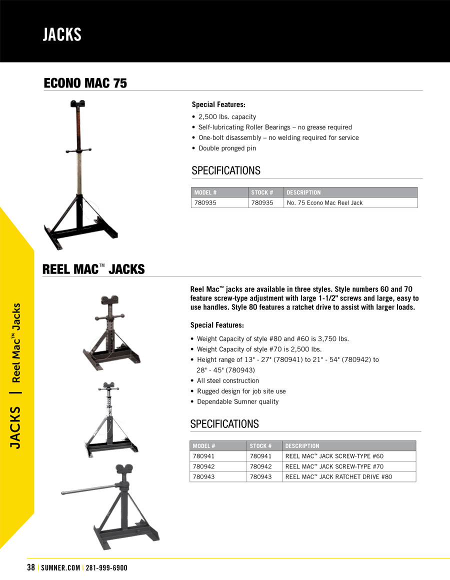 Sumner Reel Mac Technical Specs