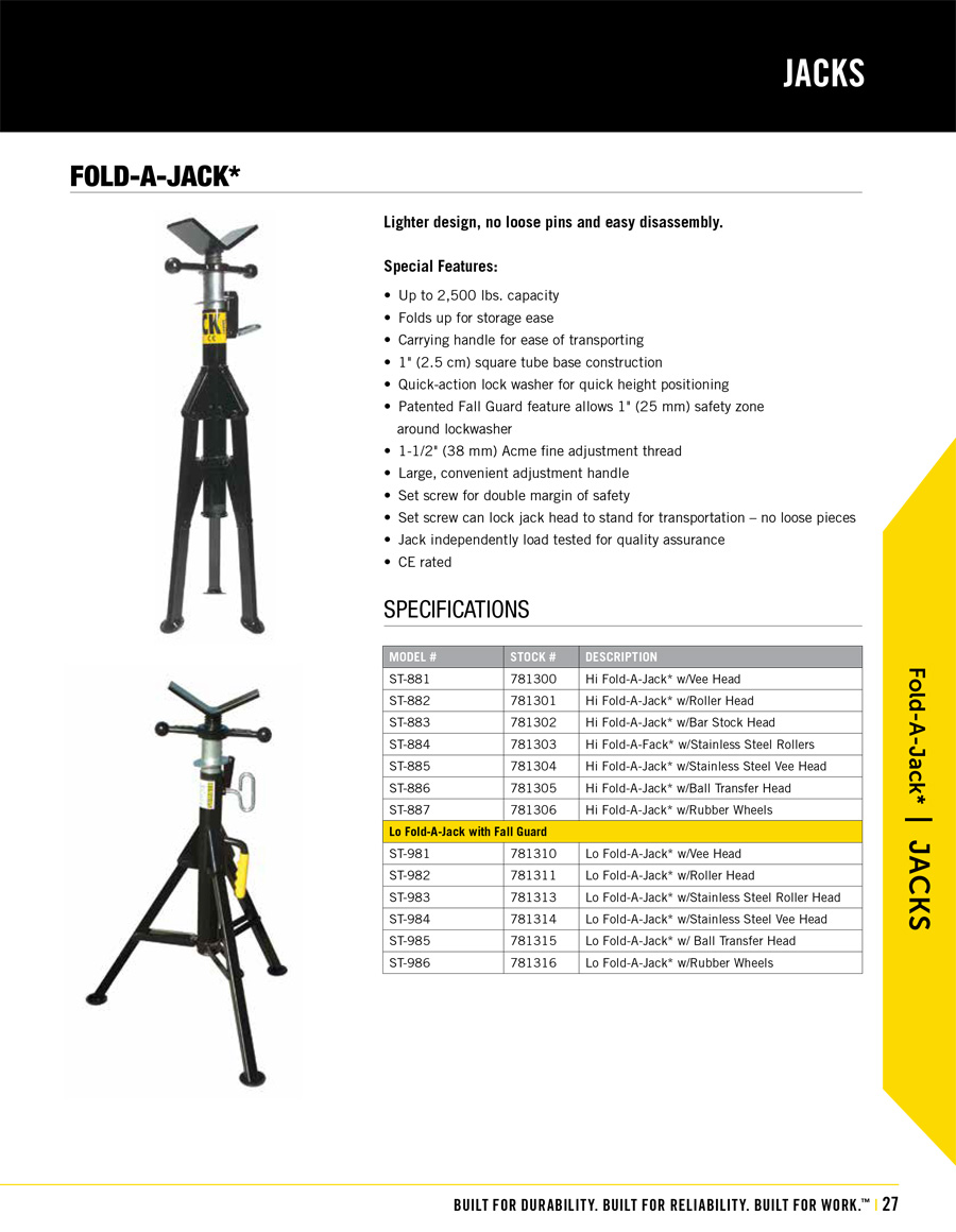 Sumner Fold-A-JackTechnical Specs