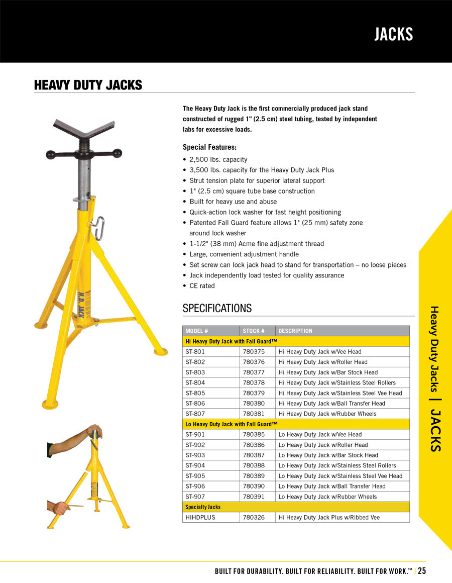 Sumner Heavy Duty Jack Technical Specs