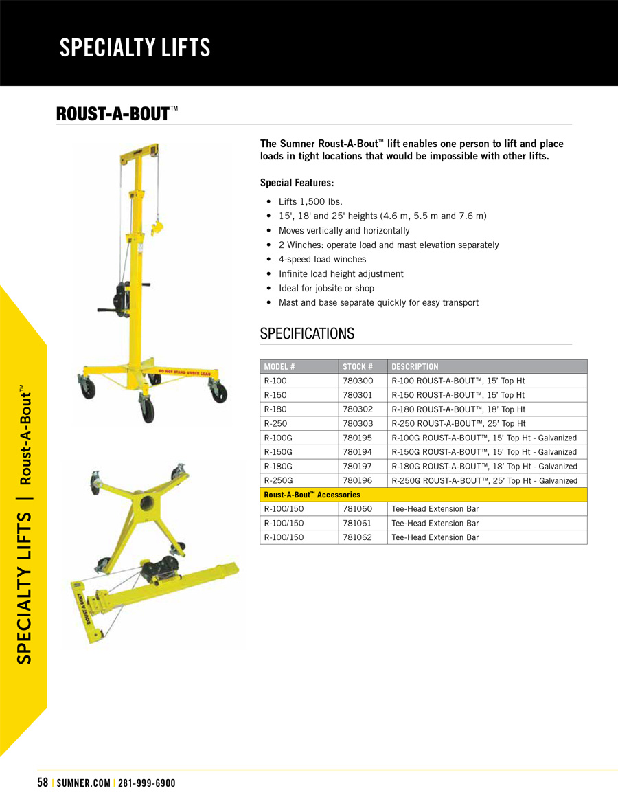 Sumner Roust-a-Bout R Series Lift Technical Specs