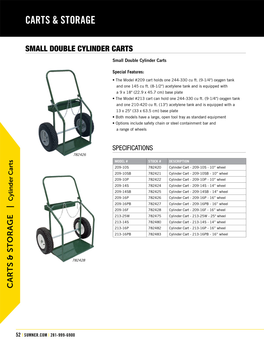 Sumner Small Double Cylinder Carts Technical Specs