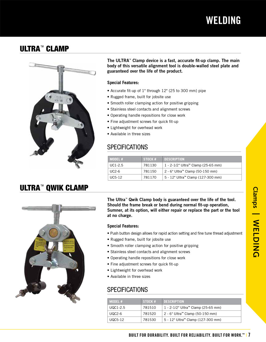 Sumner Ultra Clamp Technical Specs