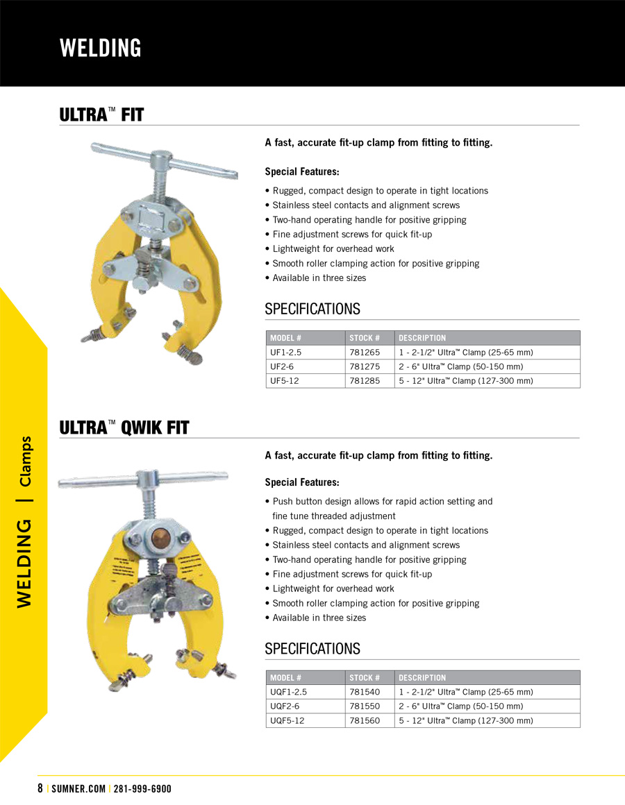 Sumner Ultra Fit Clamp Technical Specs