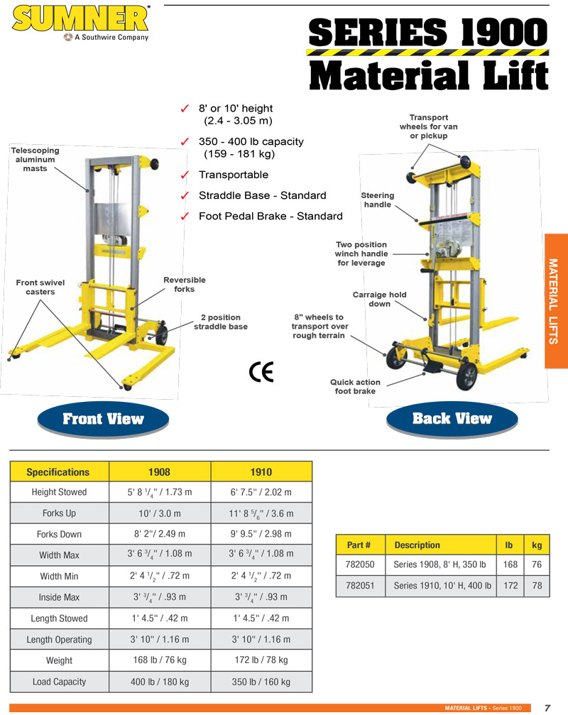 Sumner 1900 Series Material Lift Technical Specs