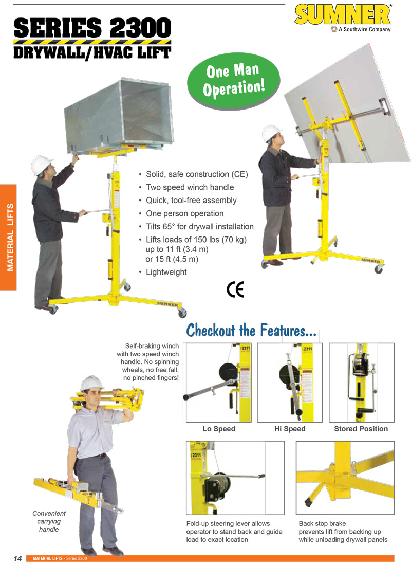 Sumner 2300 Series Drywall Lift Technical Specs
