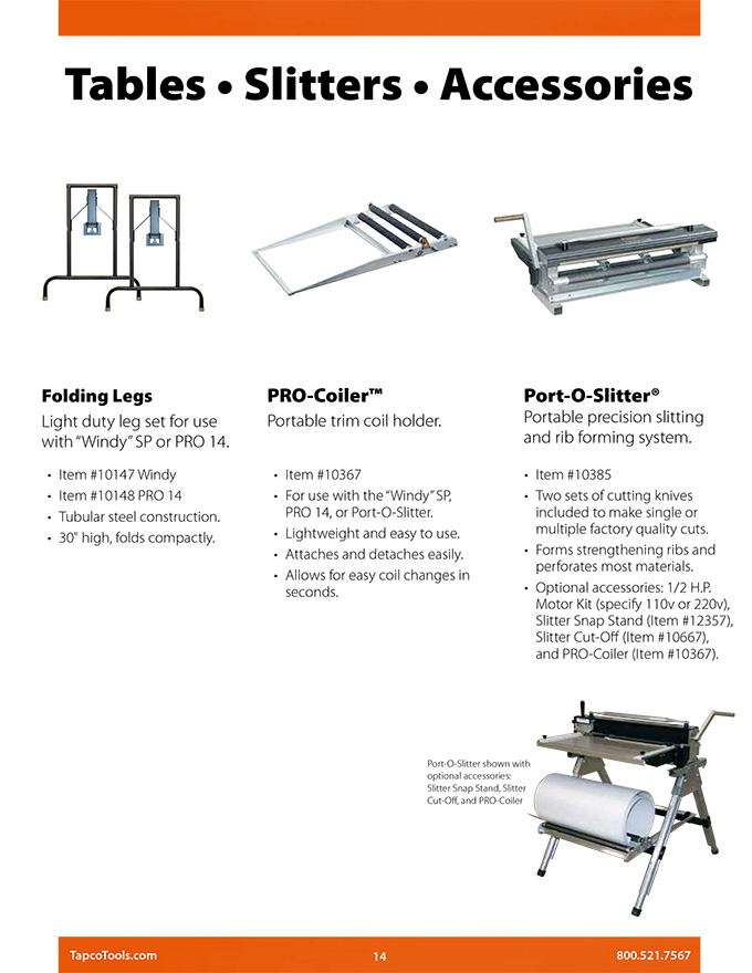 Tapco Tools Folding Legs Technical Specs