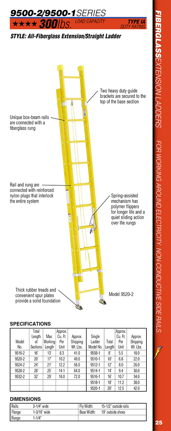 Werner 9500-2 Series All-Fiberglass Extension/Straight Ladder