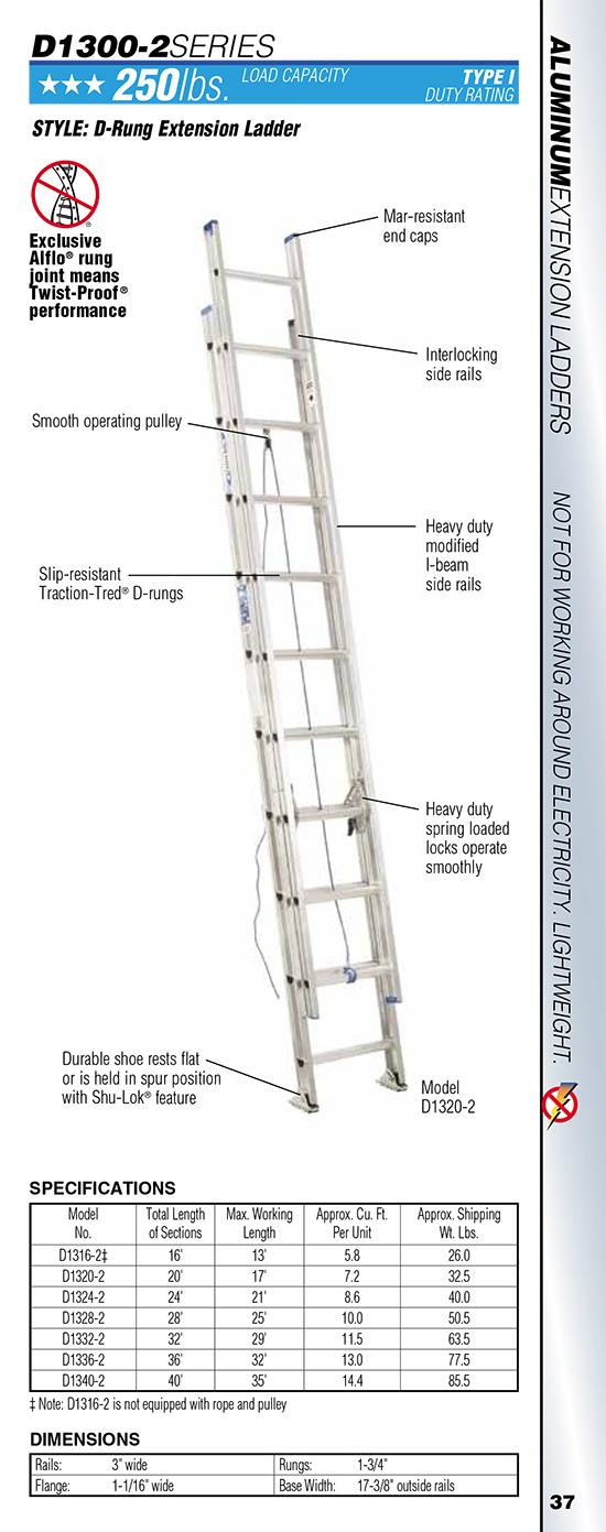 Werner D1300 Series Aluminum Extension Ladder 36