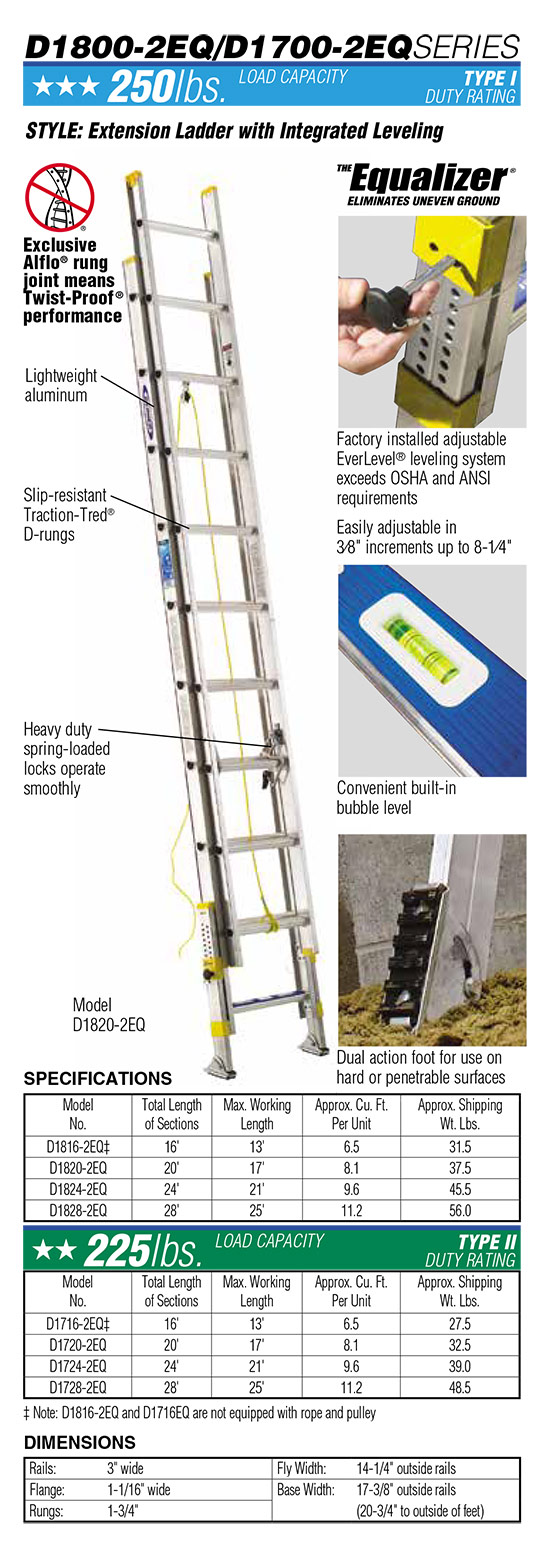Werner D1700-2EQ Series Extension Ladder with Integrated Leveling