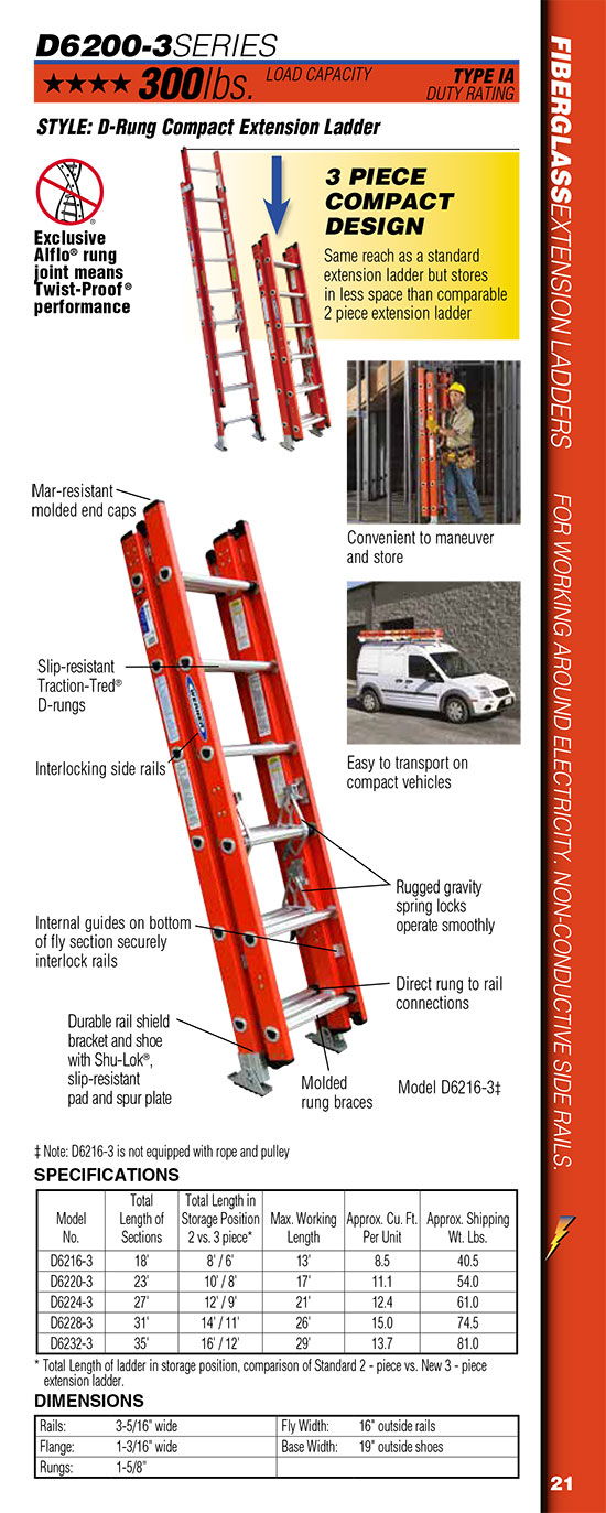 Werner D6200-3 Series D-Rung Compact Extension Ladder