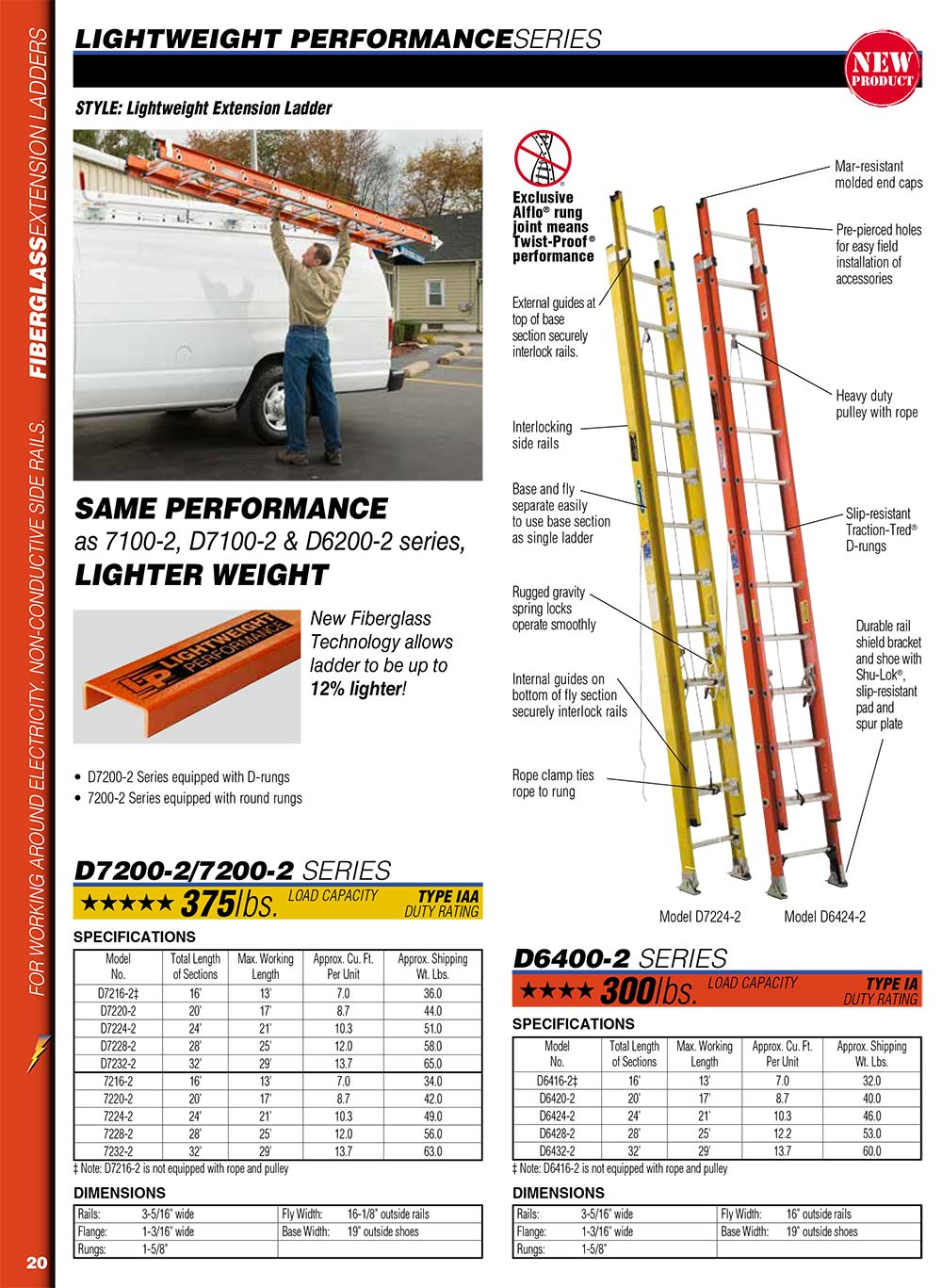 Werner D7200-2 Series Lightweight Extension Ladder