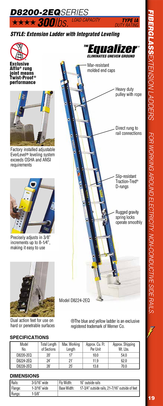 Werner D8200-2EQ Series Extension Ladder with Integrated Leveling