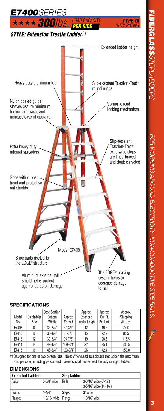 Werner E7400 Series Fiberglass Extension Trestle Ladder - 16\' (E7416)