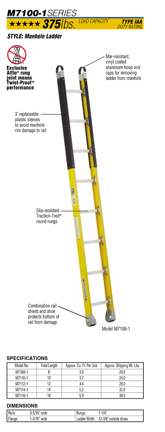 Werner M7100-1 Series Manhole Ladder