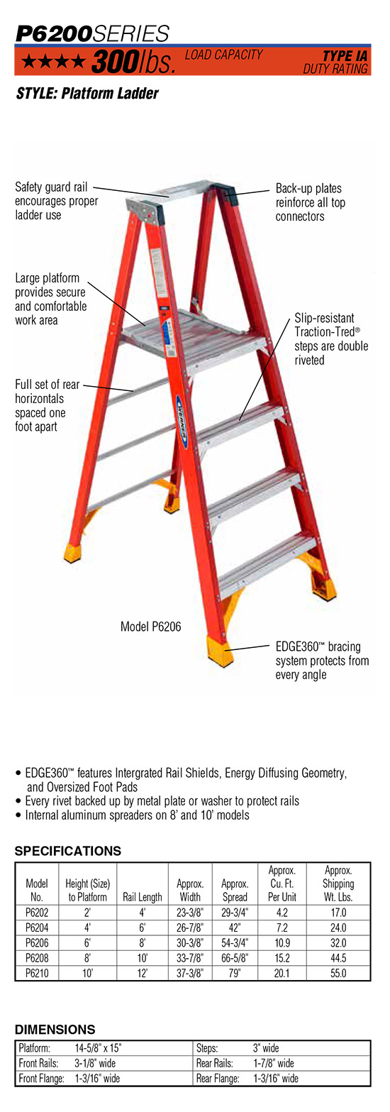 Werner P6200 Series Platform Ladder