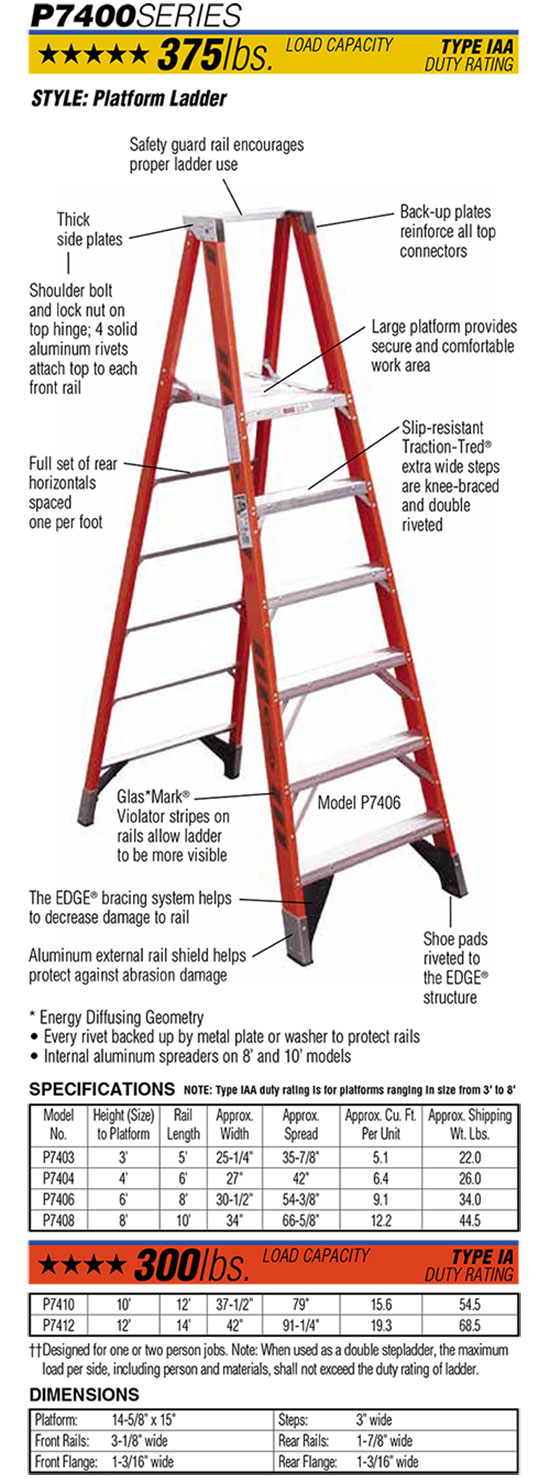 Werner P7400 Series Platform Ladder