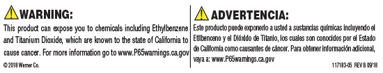 California's Proposition 65 Warning