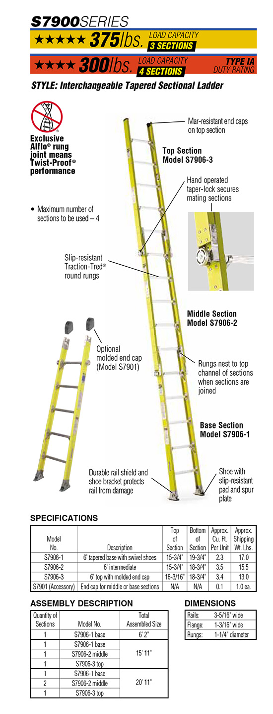 Werner S7900 Series Interchangeable Tapered Sectional Ladder