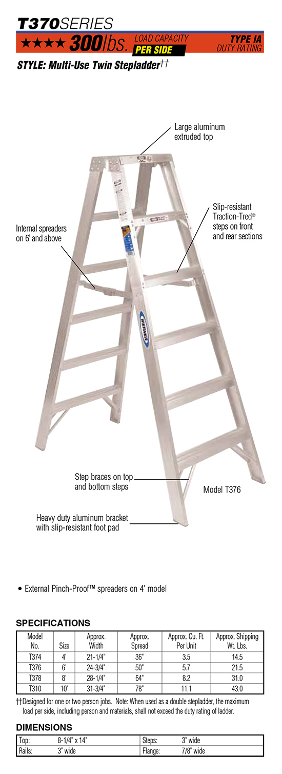 Werner T370 Series Multi-Use Twin Stepladder
